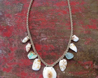 Opihi shell necklace with other shells and seaglass and raw turquoise