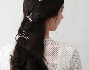 Set of 4  Wedding Hair Pin Bridal Hair Pin pearl Hair Pin Crystal  Bridal Hairpin Bridal hair piece Wedding hair piece Silver hair pin