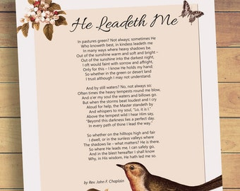 He Leadeth Me Poem Printable