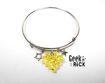 Geeky bracelet - Pixel heart glitter holographic vibrant gamer video game nerd