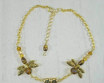 Dragonfly Hotwife Anklet, Initial Jewelry, Personalized Jewelry, Dragonfly Anklet, Sexy Anklets, Swinger Jewelry, Kinky, Gold Series