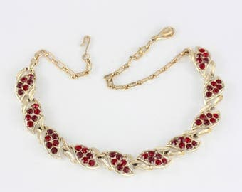 60s Gold and Red Necklace, Red Rhinestone Necklace, Vintage Gold Tone Necklace, Garnet Red Rhinestone, 50s Leaf Necklace