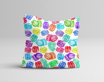 Macaron Pillow Case - Nursery Pillow Cover - Watercolor Throw Pillow Cover - Macaron Birthday Party - Watercolor Pillow Case 16x16 | 20x20
