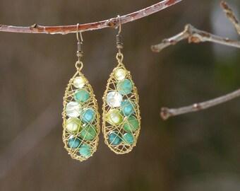 Long green earrings, Green dangle earrings, Boho earrings, Gift for her