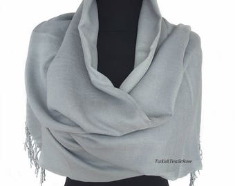 Dolphin Gray Wedding Pashmina Shawl Light Gray Bridesmaid Pashmina Light Gray Scarf Bridesmaid Gift Light Gray Wrap Oversize Shawl Light Gra