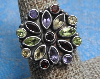 exceptional large vintage sterling silver garnet peridot amethyst and citrine statement ring size 8,boho ring,mandala ring,statement rings