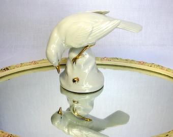 Mid Century / German Bird & Bug Porcelain Figurine / White Bird With A Bug / Bavaria / Art Studio Porcelain Figurine / Hand Work / Gold Trim