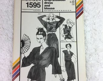 Stretch and Sew 1595 Vintage Sewing Pattern Drop-Shoulder Dress and Blouse OR Cap Sleeve Dress, Blouse and Kimono Bust Sizes 28-44