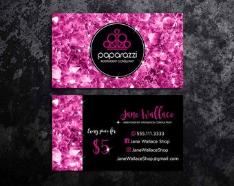Paparazzi Business Cards Paparazzi Jewelry Paparazzi Accessories Paparazzi Consultant Black and Pink Glitter Business Cards