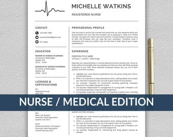 Nurse Resume Template for Word / Medical Resume | Nurse CV | RN Resume | Doctor Resume | Doctor CV | Instant Download Resume Template