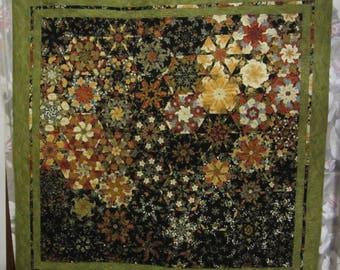 Modern, artistic, kaleidoscope quilt, handmade quilt