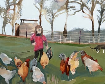 Painting Women Who Farm: Small Farms, Sustainable and Organic Agriculture, Family, Chickens, Animals, Gardening, Kids, Art