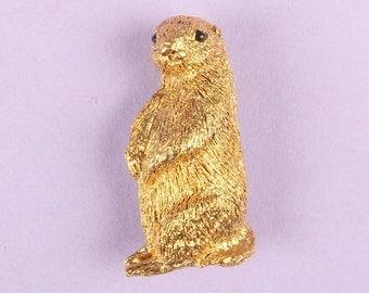 Vintage Costume Jewellery Gold Brooch Badge Pin Prairie Dog