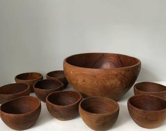 Vintage Wooden Philcraft Teak Bowl Set / One Large Bowl and Nine Small Bowls