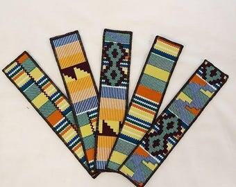 Handmade African Ankara Printed Fabric Bookmarks (Set of 5)