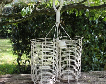 19th century French wirework bottle carrier. Porte bouteille.