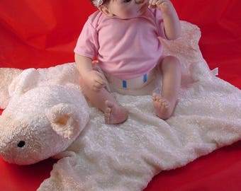Artist Doll, Sheila Michael, 16 in baby with cuddly lamb, Very Good Cond