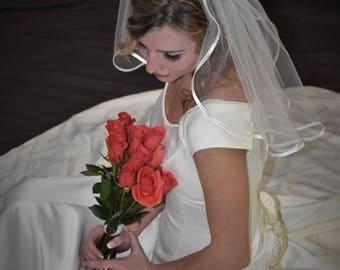 "18"" Flyaway Wedding Veil with Folded 1/4"" Satin Ribbon Edging"