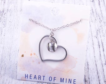 Customizable! Heart of Mine: Baseball Silver Necklace - Great Baseball Gift!