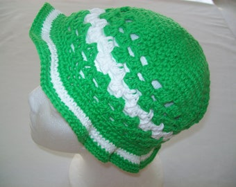 Green and white crochet cotton Hat handmade article will protect your toddler from the Sun in style