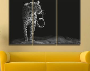 Black And White Leopard Canvas Print Wall Art Multi Panel Leopard Wall Decor Leopard Print Leopard Poster Wall Art Leopard Canvas Art Gift