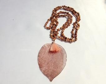 Necklace, Pendant, Rose, Leaf, Tassel, Japsis, Splitter Necklace, Brown, Gem, Jewelry, Gift,