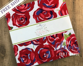 Layer Cake Squares, Coming Up Roses, Penny Rose Fabrics, Jill Finley, Roses, Paisley, Bees, Blue, Green, Red, Periwinkle, Free Shipping