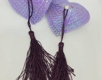 Large Lavender Light Purple Heart Nipple Pasties with Tassels