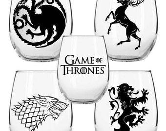 Game of Thrones Wine Glass Set, Game of Thrones, House of Stark, Lannister, Baratheon, Targaryen