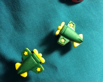 Cute Transportation AIRPLANES Air Plane Green and Yellow Clog Shoe Charms