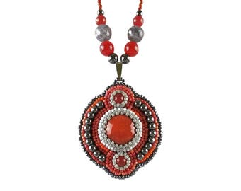 Bead embroidered Gemstone Necklace, Beadwork Ceramic Jewelry, Seed Bead embroidery, Beaded Ethnic Red Gray and Black Gemstone Jade Beadwork