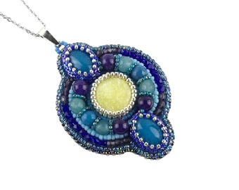 Bead Embroidered pendant necklace, Blue Purple Gemstone pendant, Bead embroidery Beaded jewelry, Beadwork Jade pendant, Seed bead jewelry