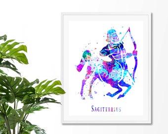 Sagittarius #4 Watercolor Astrology Art Print, Sagittarius  Sign , Sagittarius Zodiac, Sagittarius Wall Art, Sagittarius Poster