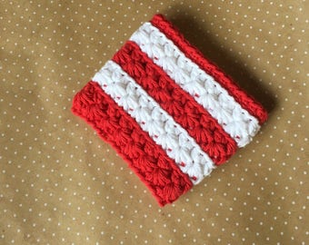 Holiday Cheer Cup Cozy (hand-crocheted, red and white stripe, ready to ship)