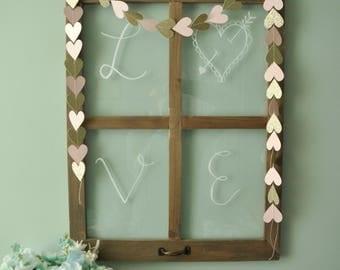 Heart String Banner, Heart Banner, Valentine's Day Banner, Valentine's Day Decor, Pink and Gold Banner, Sewn Paper Banner