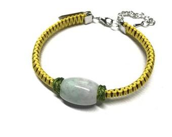 Green Jadeite Jade Silk Cord Bracelet