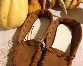 Handcrafted Elk Suede Moccasins - Womens Size 8 / Mens Size 7