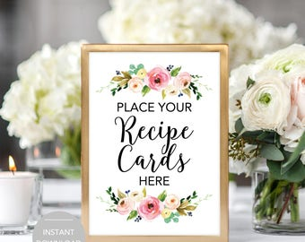 Recipe Card Sign, Recipe Cards Sign, Place Your Recipe Cards Here, Recipe Card Bridal Shower Sign, Recipe Card Sign Instant Download File
