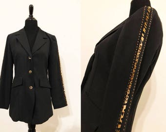Gantos   Vintage 1980's/1990's Black, Brown, and Bronze Animal Print Jacket / Vintage Black Blazer / 90's Animal Print Blazers