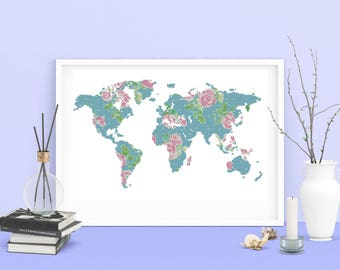 Cross stitch World map floral silhouette, Modern World Map pattern PDF instant download