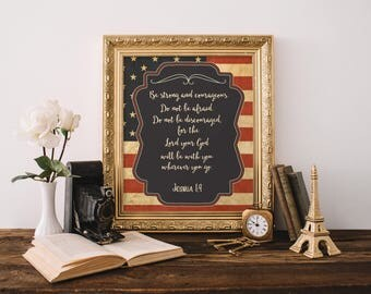 Printable Military Wall Art; American Flag Picture; Army Gift, Military Gift, Deployment Gift, Bible Quote, Joshua 1:9, USA Wall Art