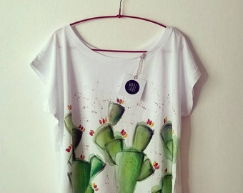 Oversize t-shirt hand painted prickly * handpainted t-shirts organic cotton