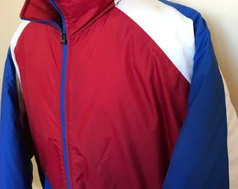 90s Holloway Winter Ski Jacket Vintage Coat Puffy Nylon Shell Lined Snow Snowboard Olympics Team USA Windbreaker Zipper Up Red White Blue XL