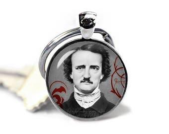 Edgar Allan Poe Keychain Edgar Poe Keyfob Nevermore Key ring Edgar Allan Poe Jewelry