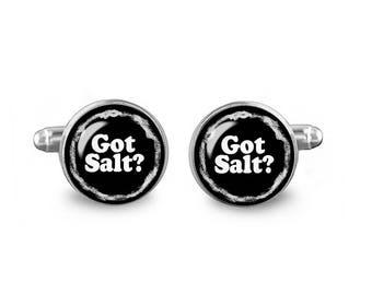 Supernatural Cufflinks Got Salt? 16mm Cufflinks Gift for Men Groomsmen Novelty Cuff links Fandom Jewelry