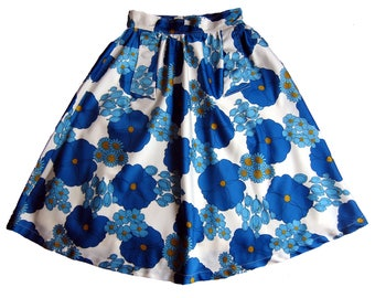 "1950's 1960's Flower Power ""Blue"" Vintage Daisy skirt"