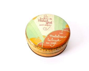 1930s French Tin box: Les bonbons de L'enfant gâté sont exquis | Des Malabars berlingots au cafe | Art Deco Candy Tin | Round Tin