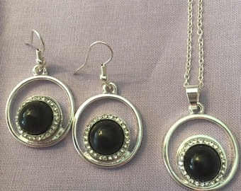 Trendy New Silver Plated 12mm Interchangeable Snap Necklace and Earrings with Black Center and Rhinestones