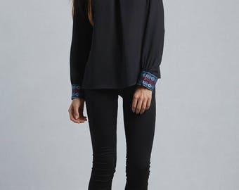 Samples in polyester on sale, Women Blouse, Elegant black blouse, classy,long sleeves, black women blouse, trendy black blouse
