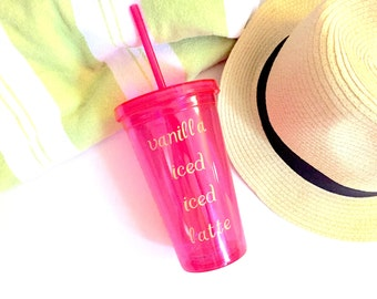 Pink and Gold Vanilla Iced Latte Tumbler
